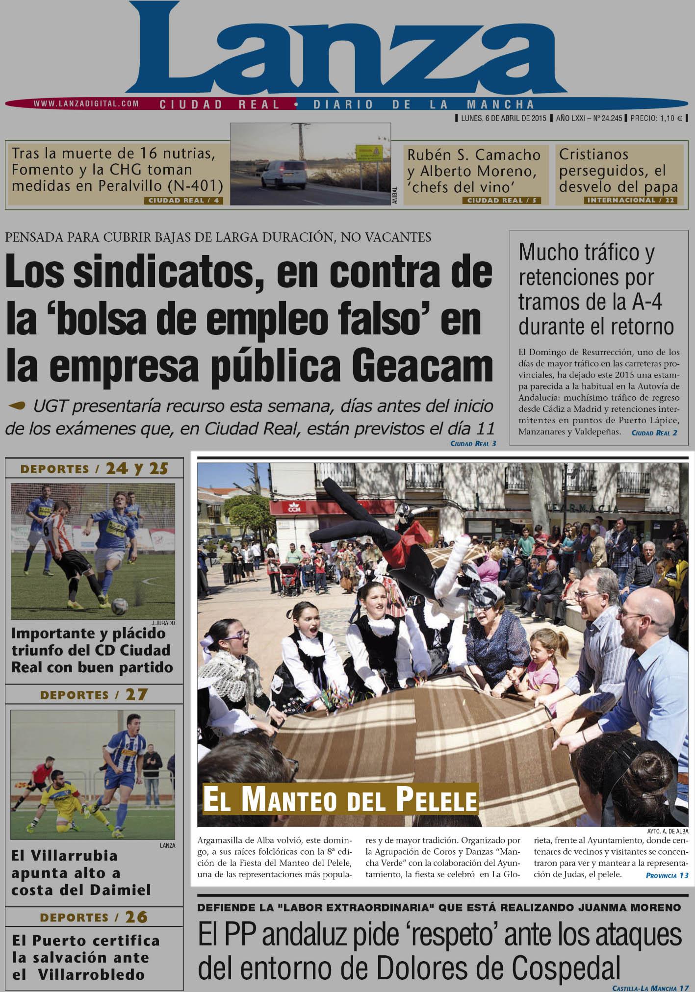 Portada Diario Lanza el 6 de abril de 2015